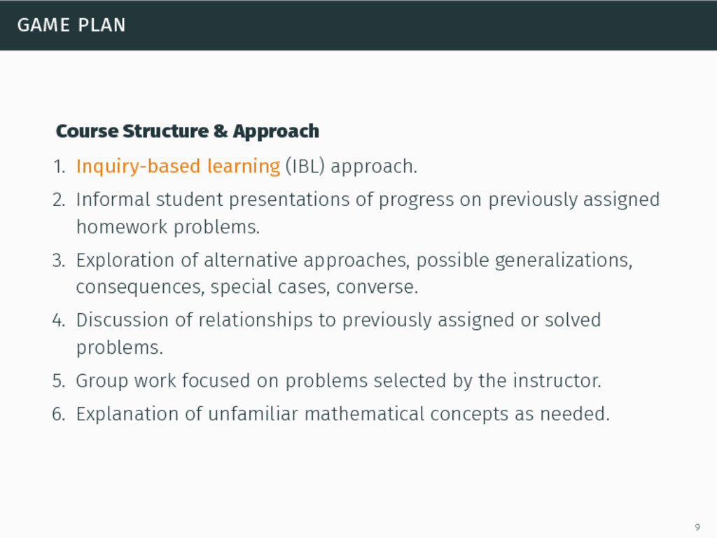 game plan Course Structure & Approach 1. Inquir...