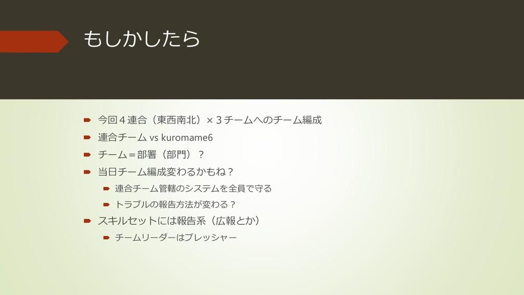もしかしたら  今回4連合(東西南北)×3チームへのチーム編成  連合チーム vs kur...