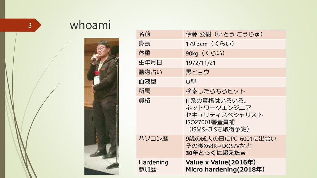 whoami 名前 伊藤 公樹(いとう こうじゅ) 身長 179.3cm(くらい) 体重 90...