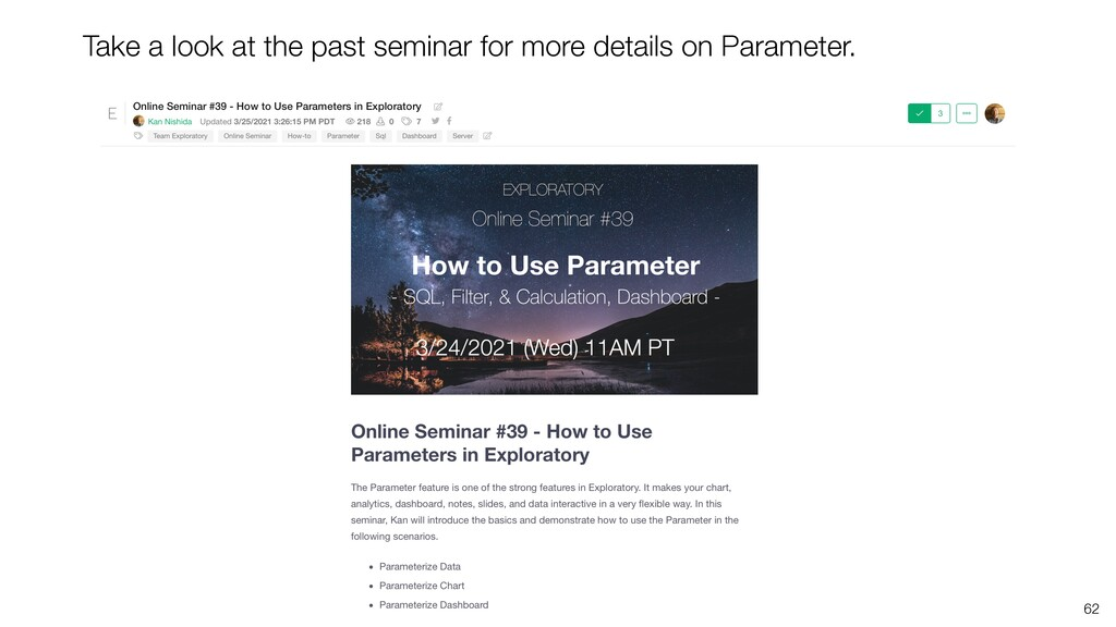 62 Take a look at the past seminar for more det...