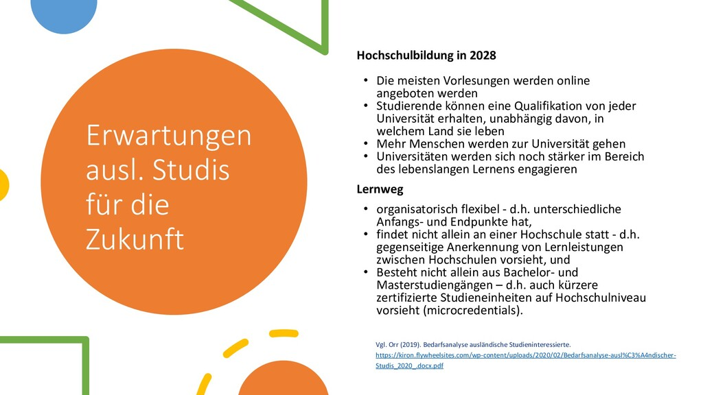 Erwartungen ausl. Studis für die Zukunft Hochsc...