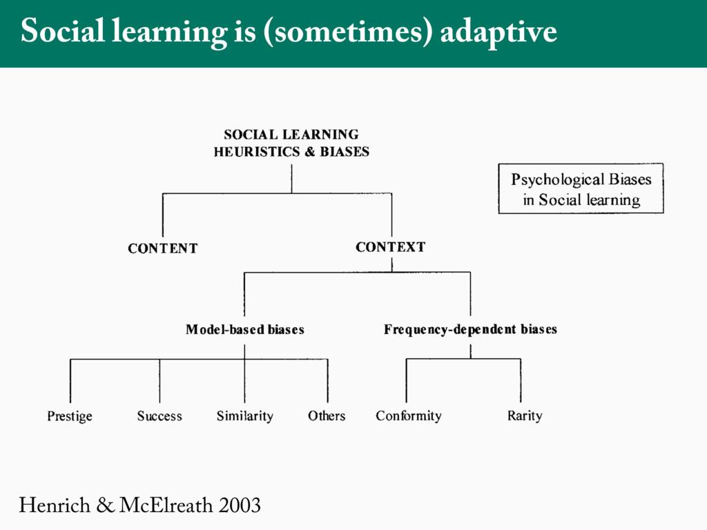 Henrich & McElreath 2003 Social learning is (so...