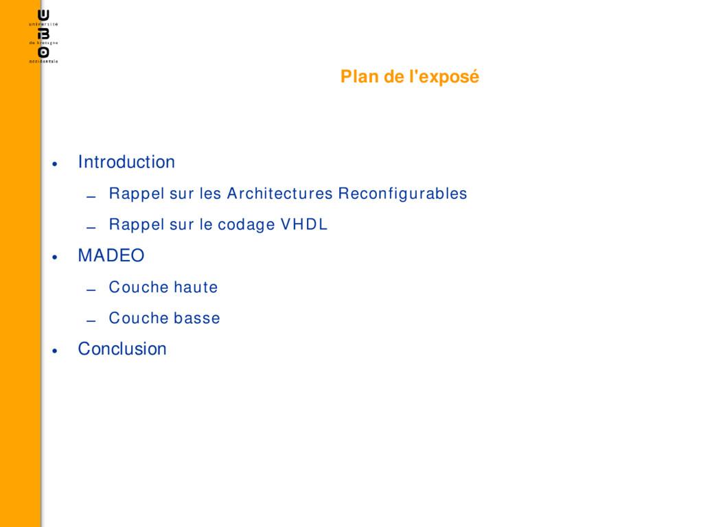 Plan de l'exposé • Introduction – Rappel sur le...