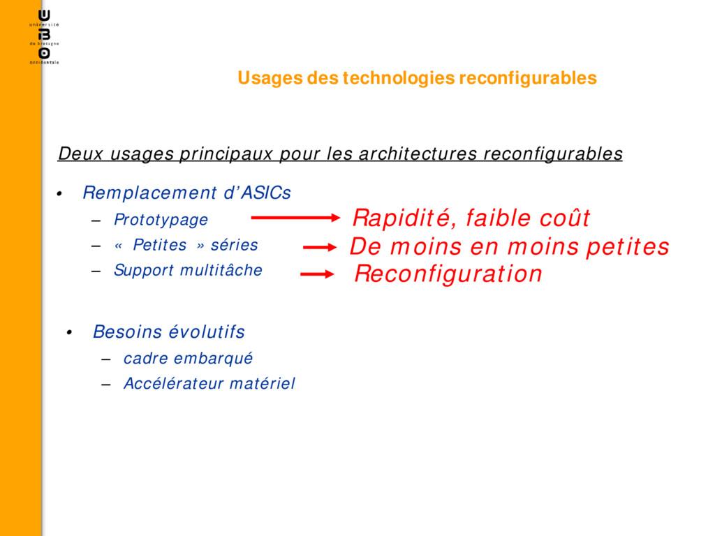 • Remplacement d'ASICs – Prototypage – « Petite...