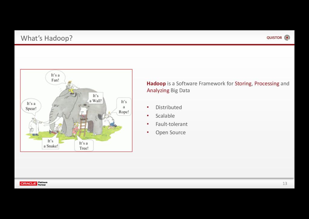 13 What's Hadoop? Hadoop is a Software Framewor...