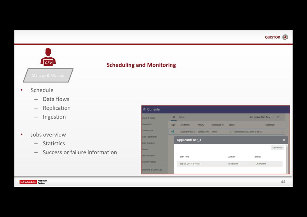 44 Manage & Monitor • Schedule – Data flows – R...