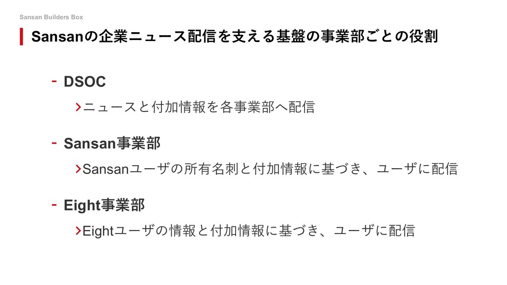 Sansan Builders Box - DSOC >ニュースと付加情報を各事業部へ配信 -...
