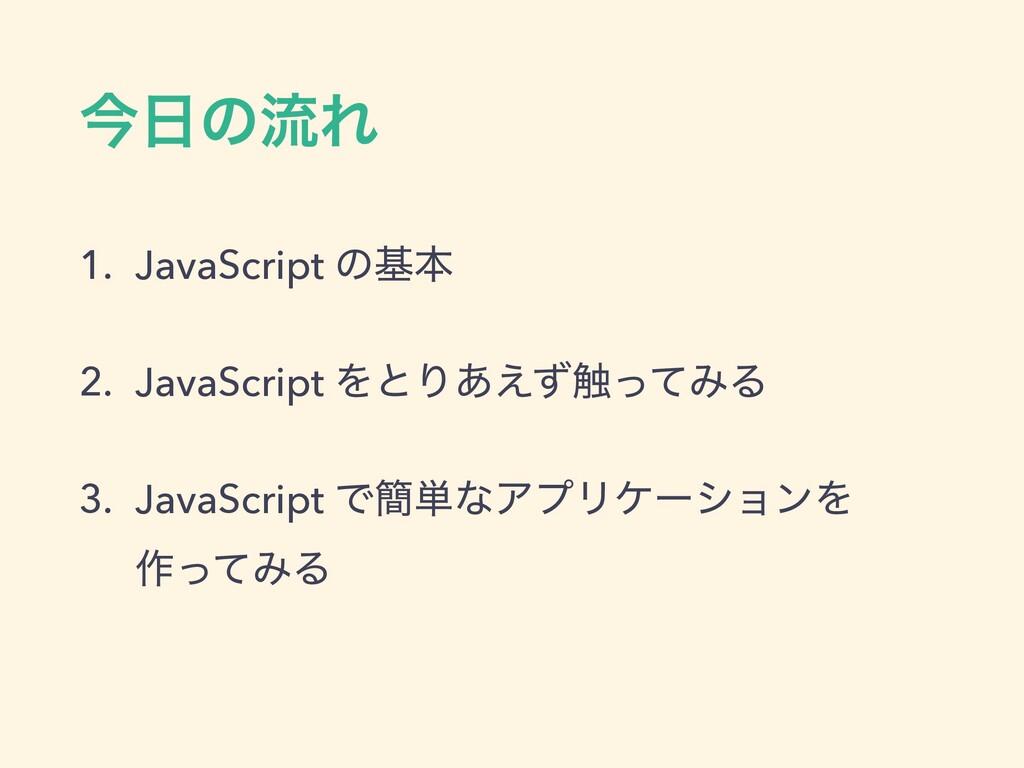 ࠓͷྲྀΕ 1. JavaScript ͷجຊ 2. JavaScript ΛͱΓ͋͑ͣ৮ͬͯ...