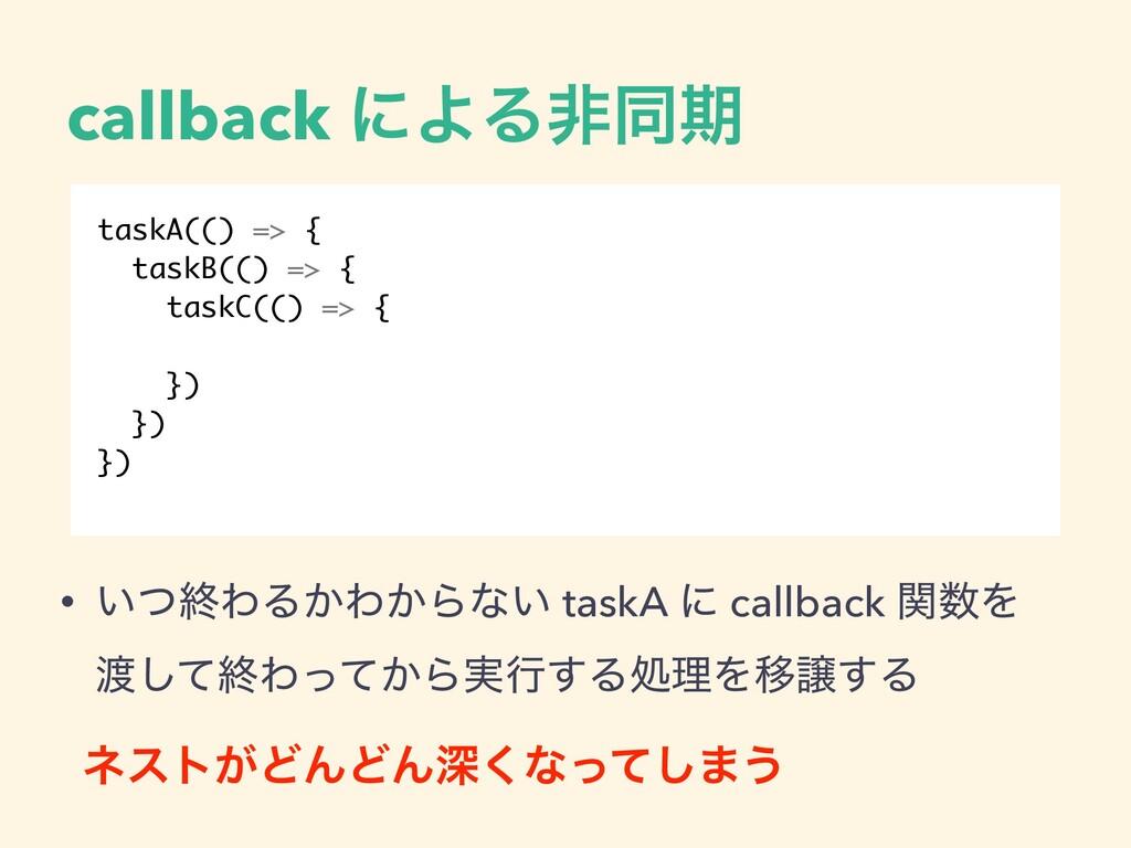 callback ʹΑΔඇಉظ taskA(() => { taskB(() => { tas...