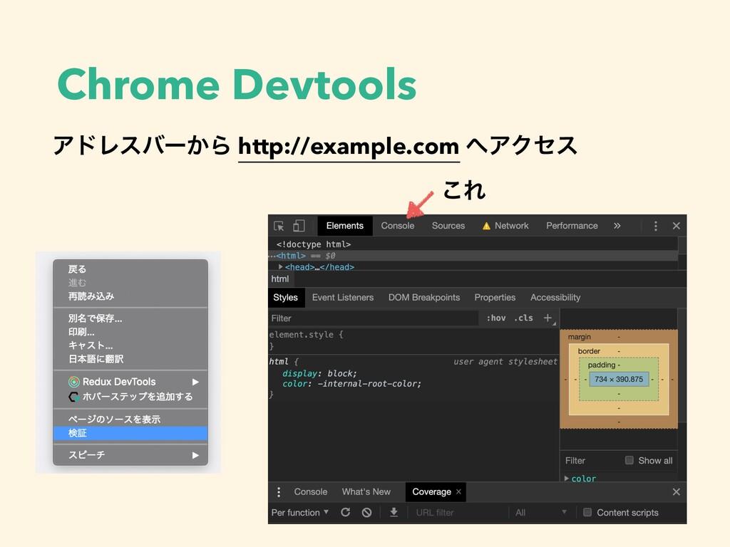 Chrome Devtools ΞυϨεόʔ͔Β http://example.com ΞΫ...