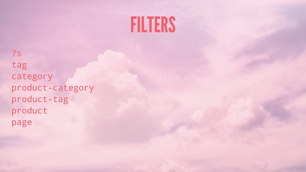 FILTERS ?s tag category product-category produc...