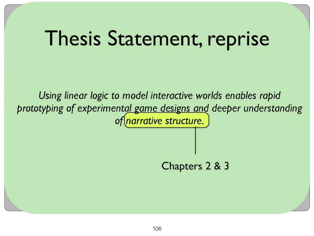 106 Thesis Statement, reprise Chapters 2 & 3 Us...