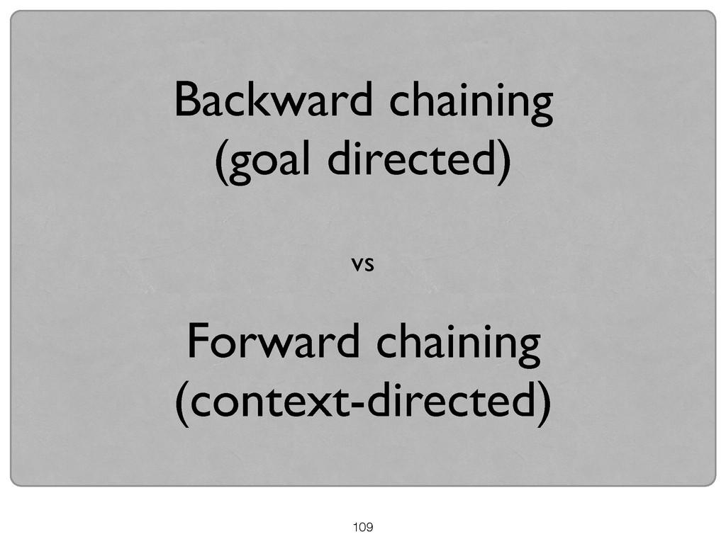109 Backward chaining   (goal directed)  ! ...