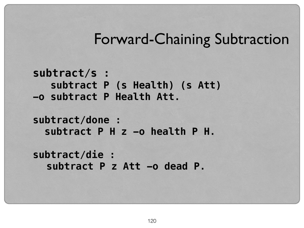 120 subtract/s : subtract P (s Health) (s Att) ...