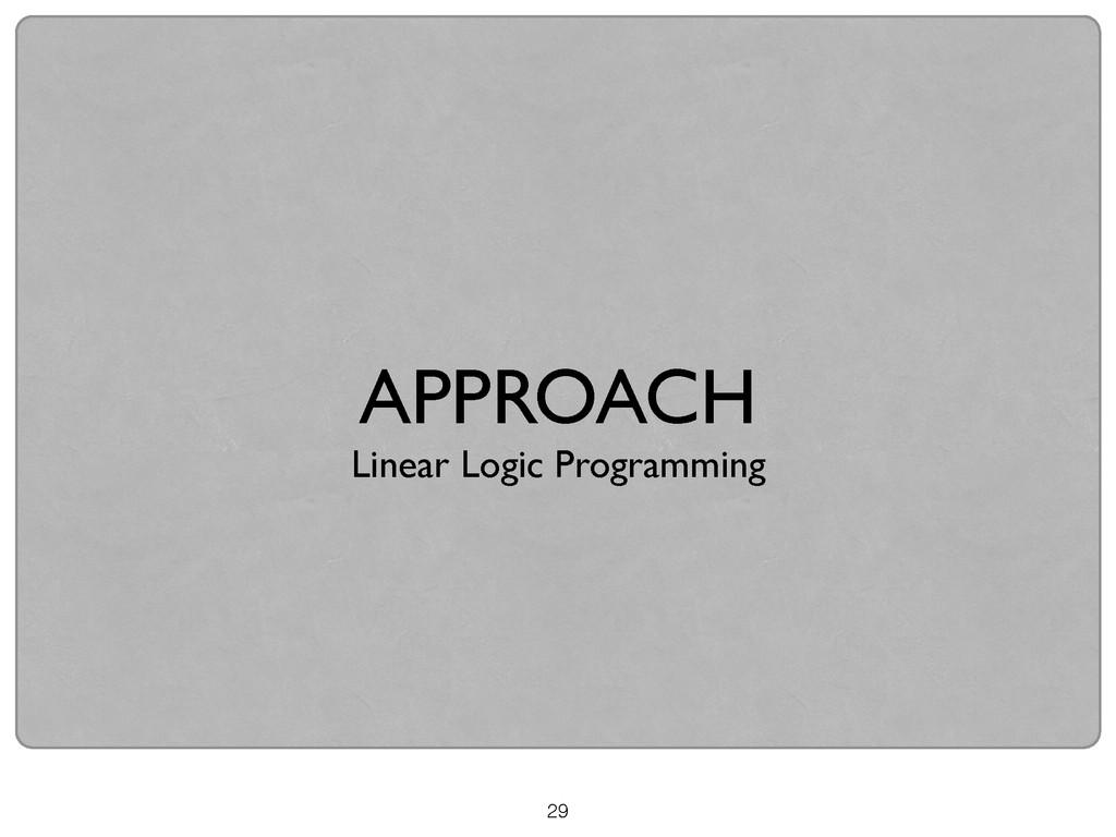 29 APPROACH  Linear Logic Programming