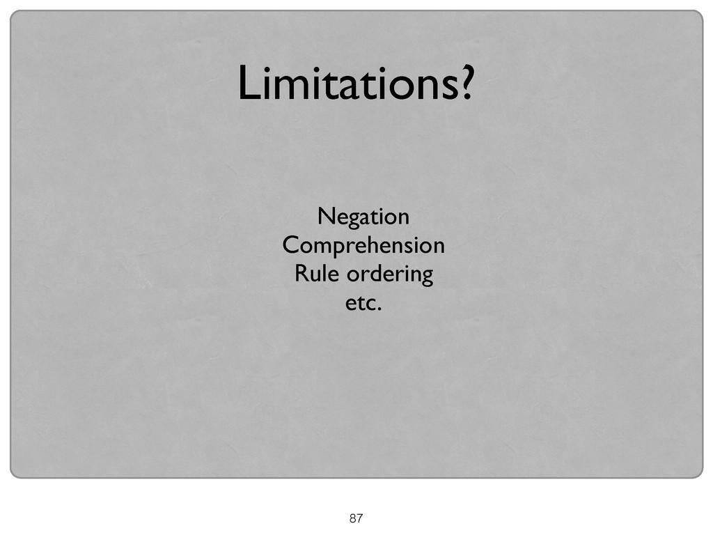 87 Limitations? Negation  Comprehension  Ru...