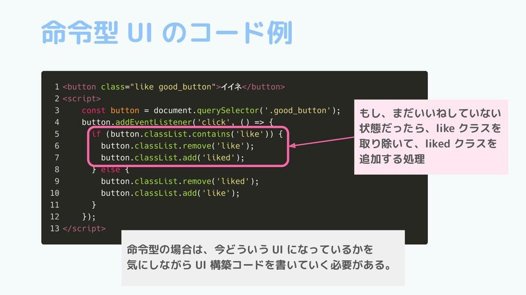 命令型 UI のコード例 もし、まだいいねしていない 状態だったら、like クラスを 取り除...