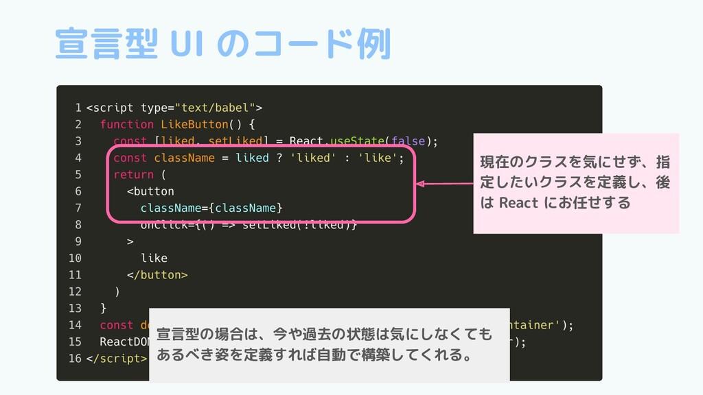 宣言型 UI のコード例 現在のクラスを気にせず、指 定したいクラスを定義し、後 は Reac...