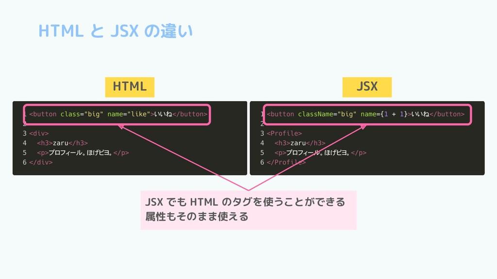 HTML と JSX の違い HTML JSX JSX でも HTML のタグを使うことができ...