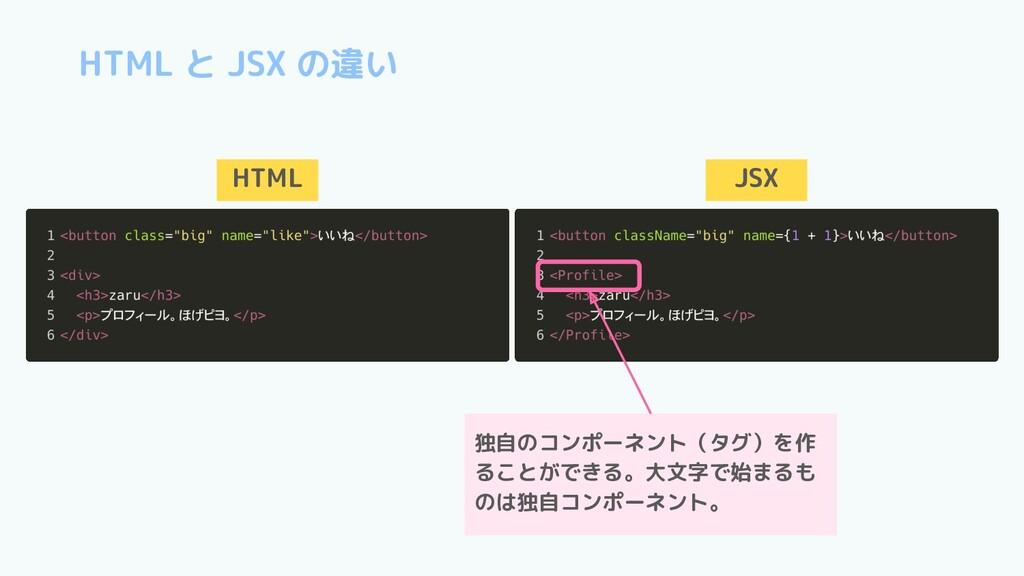 HTML と JSX の違い HTML JSX 独自のコンポーネント(タグ)を作 ることができ...