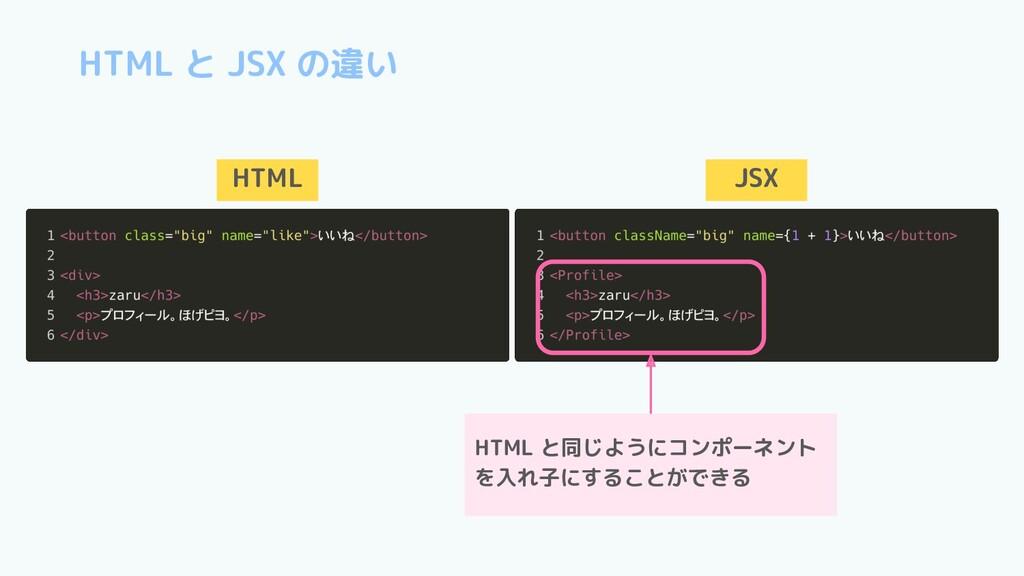 HTML と JSX の違い HTML JSX HTML と同じようにコンポーネント を入れ子...