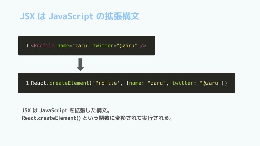 JSX は JavaScript を拡張した構文。 React.createElement()...