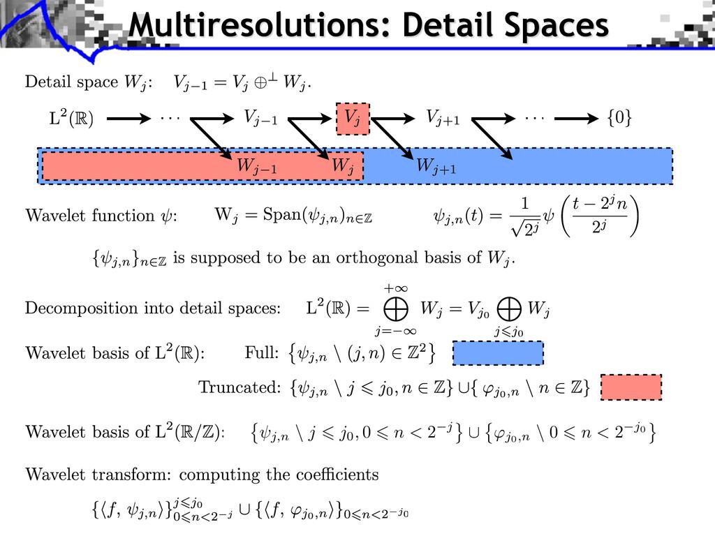 Multiresolutions: Detail Spaces j,n \ j j0, 0 n...