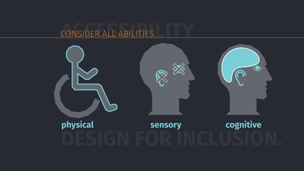 DESIGN FOR INCLUSION. physical sensory cognitiv...