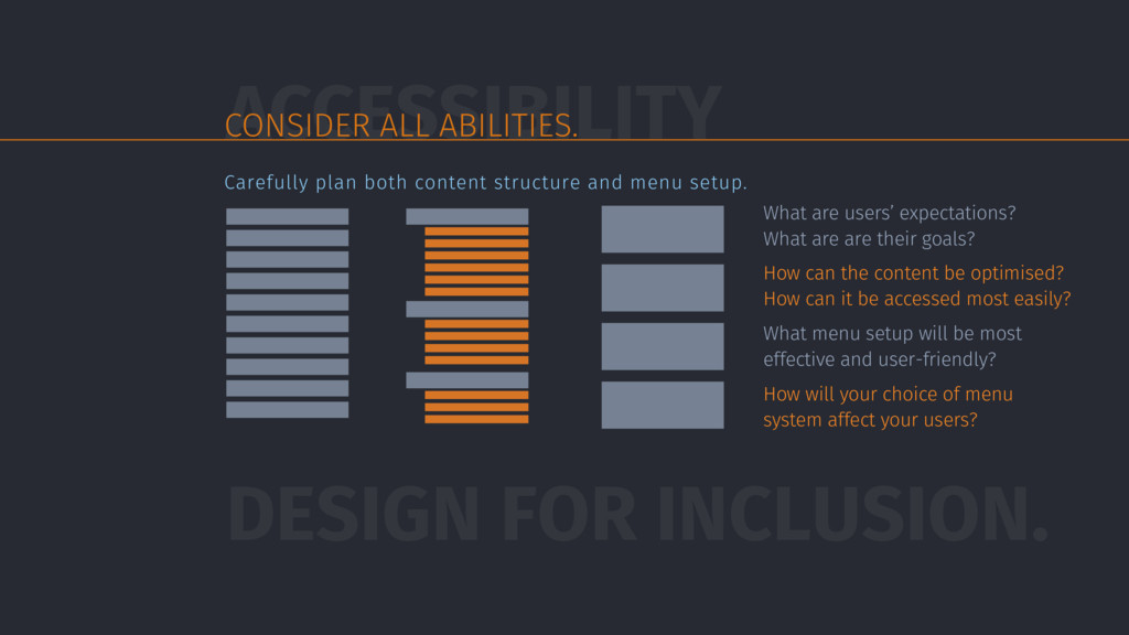 ACCESSIBILITY CONSIDER ALL ABILITIES. DESIGN FO...