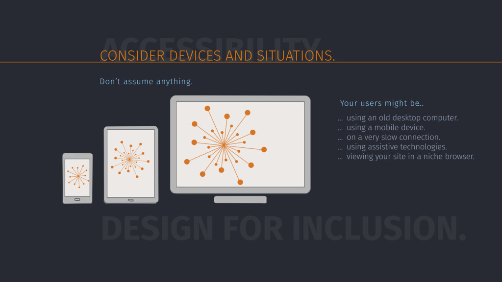 ACCESSIBILITY CONSIDER DEVICES AND SITUATIONS. ...
