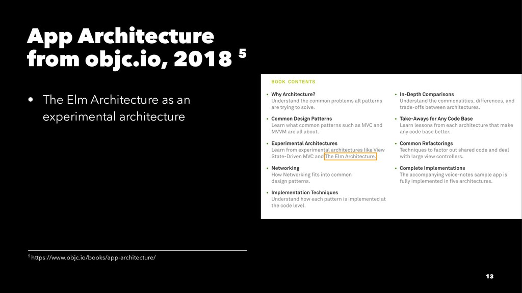 App Architecture from objc.io, 2018 5 • The Elm...