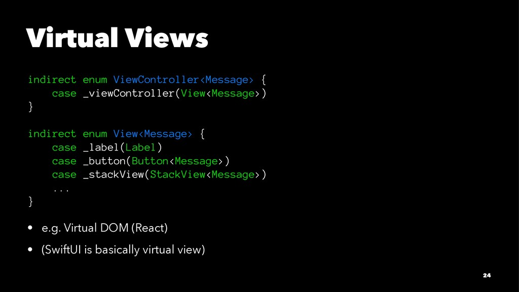 Virtual Views indirect enum ViewController<Mess...