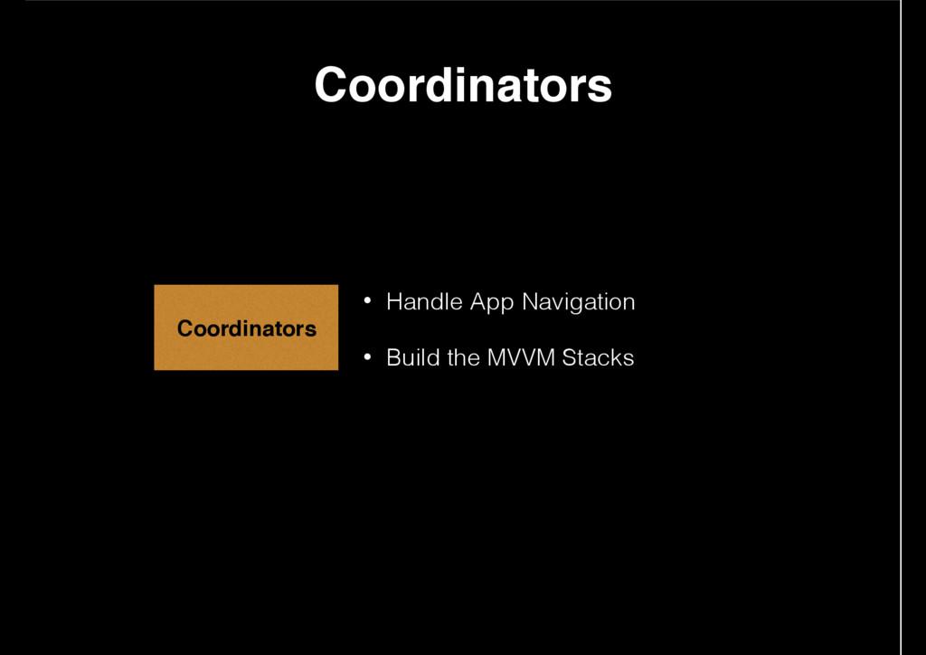 • Handle App Navigation • Build the MVVM Stacks...