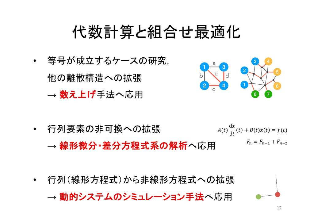 代数計算と組合せ最適化 12 • 等号が成立するケースの研究, 他の離散構造への拡張 → 数え...