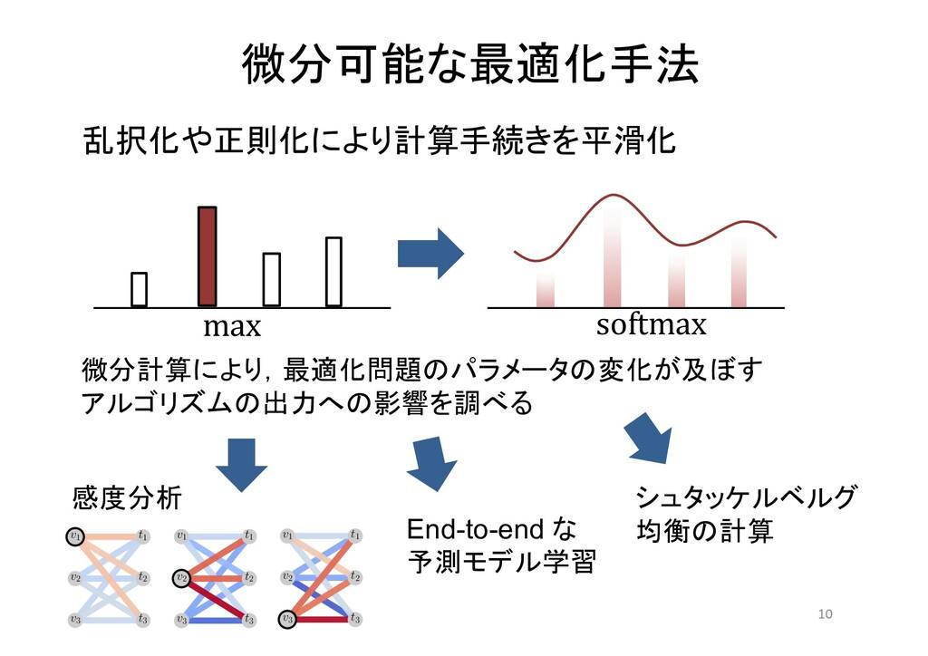 微分可能な最適化手法 10 乱択化や正則化により計算手続きを平滑化 微分計算により,最適化問題...