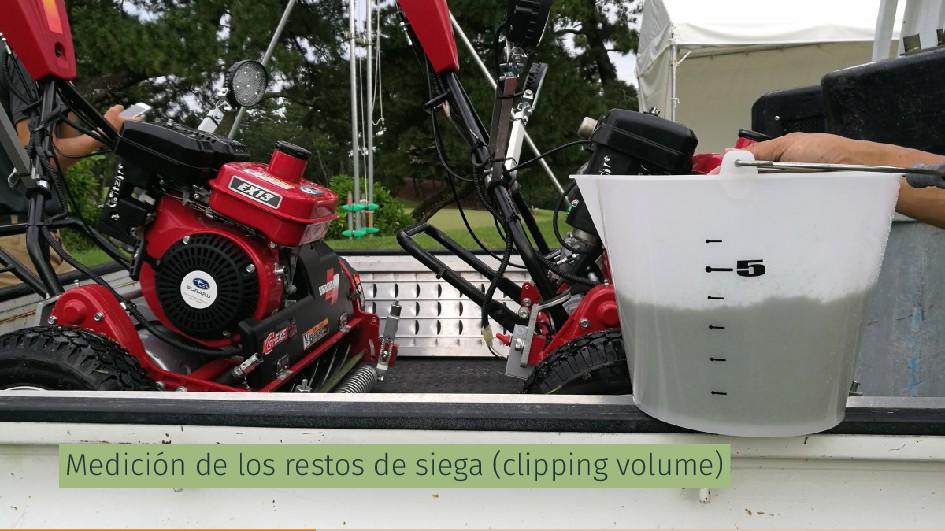 Medición de los restos de siega (clipping volum...