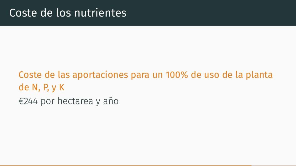 Coste de los nutrientes Coste de las aportacion...