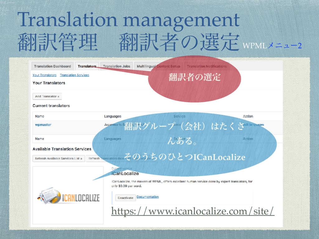 Translation management ຋༁؅ཧɹ຋༁ऀͷબఆ ຋༁ऀͷબఆ https...