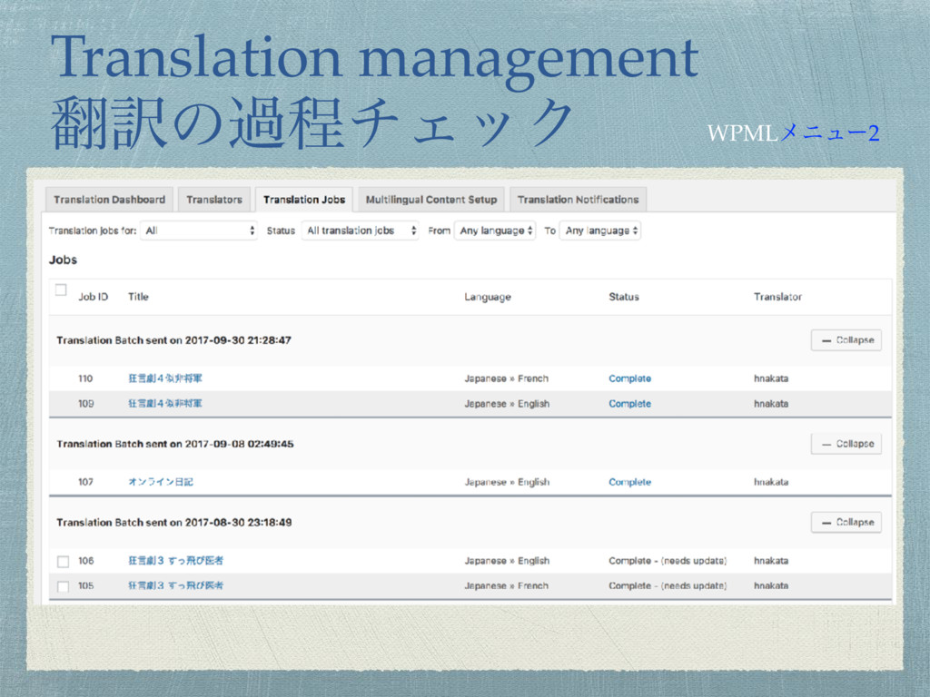 Translation management ຋༁ͷաఔνΣοΫ WPMLϝχϡʔ2