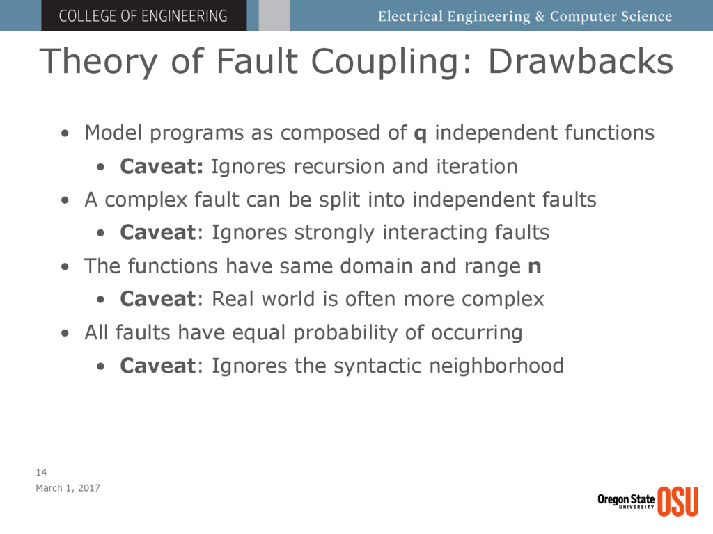 Theory of Fault Coupling: Drawbacks March 1, 20...