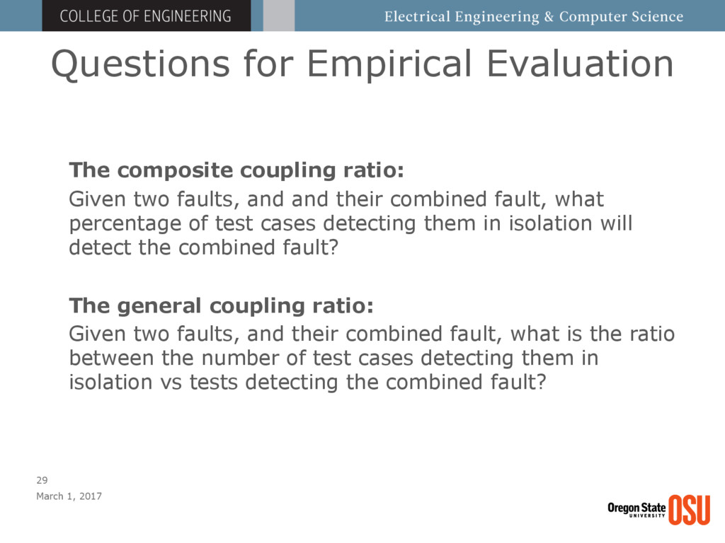 Questions for Empirical Evaluation March 1, 201...
