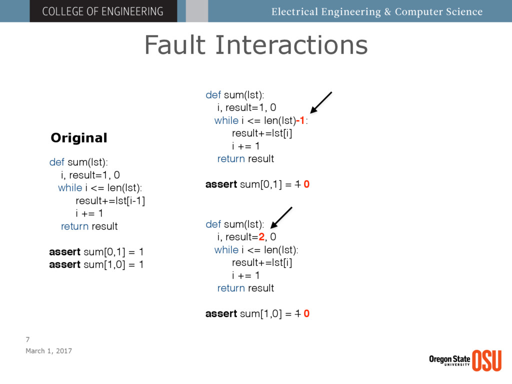 Fault Interactions March 1, 2017 7 def sum(lst)...