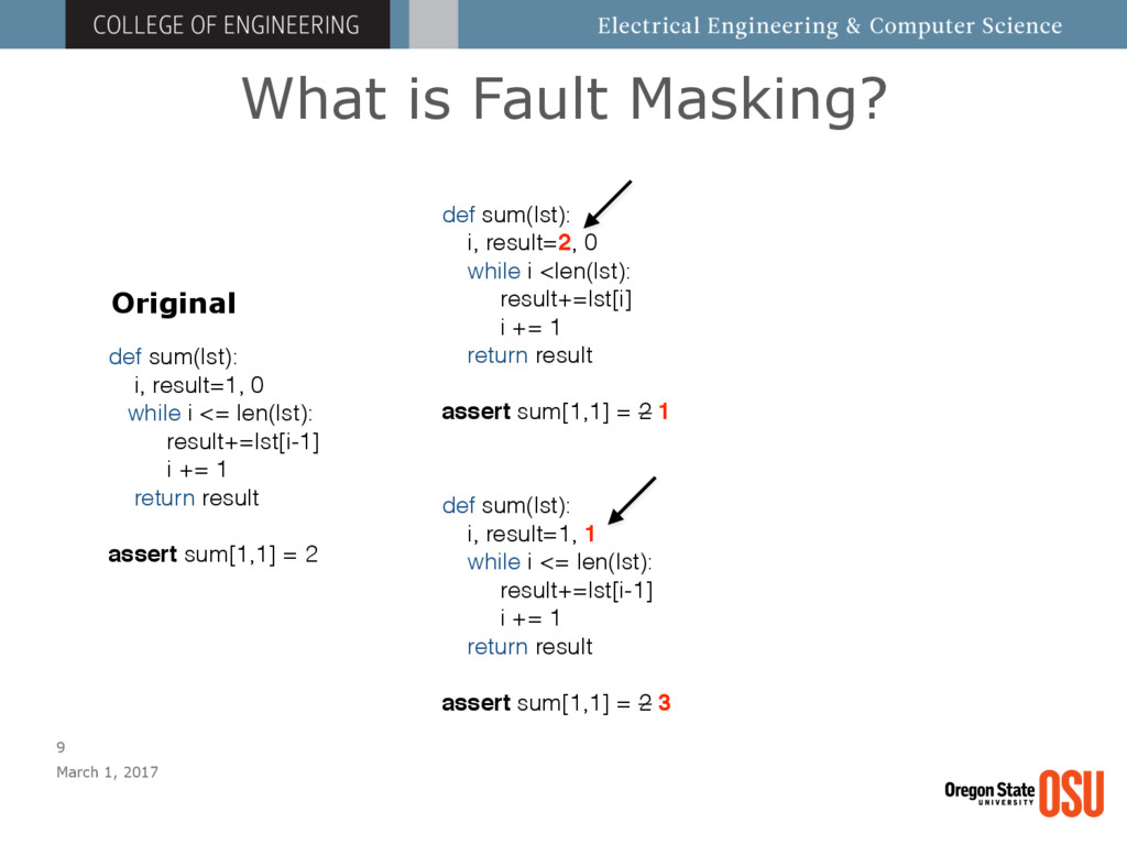 What is Fault Masking? March 1, 2017 9 def sum(...