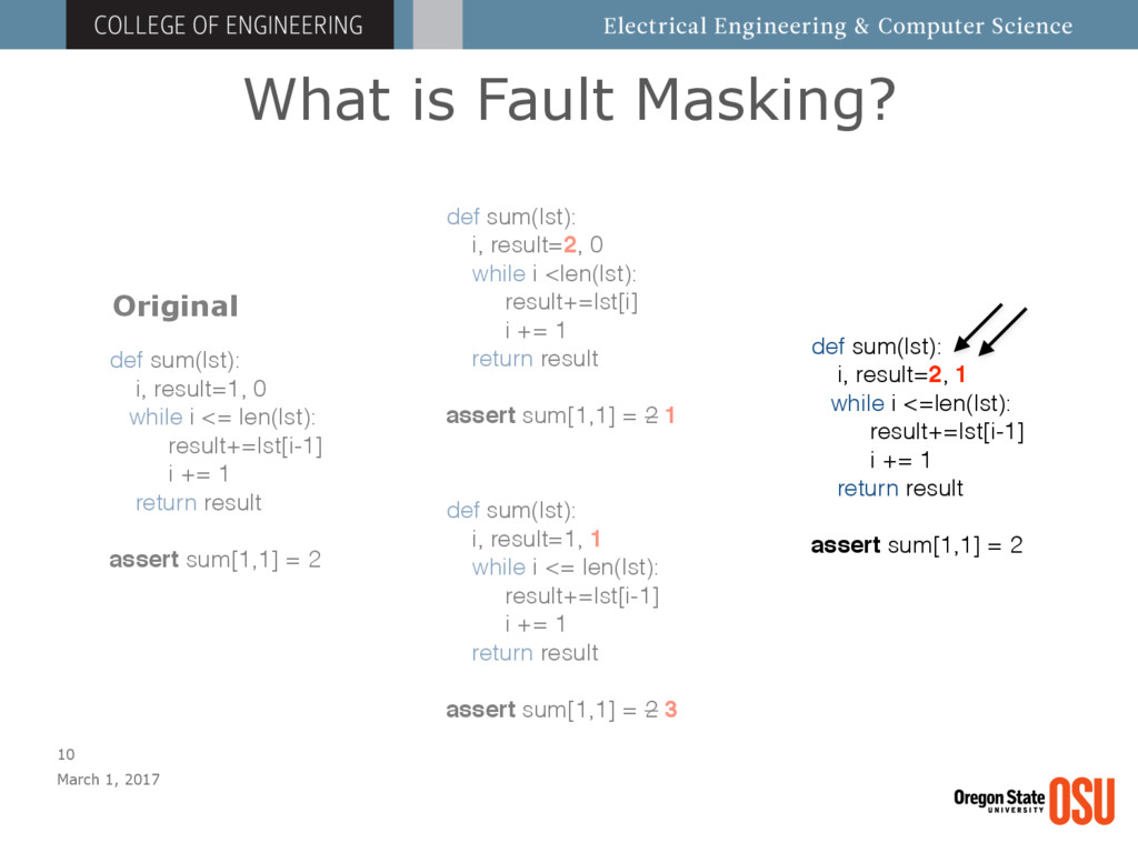 What is Fault Masking? March 1, 2017 10 def sum...