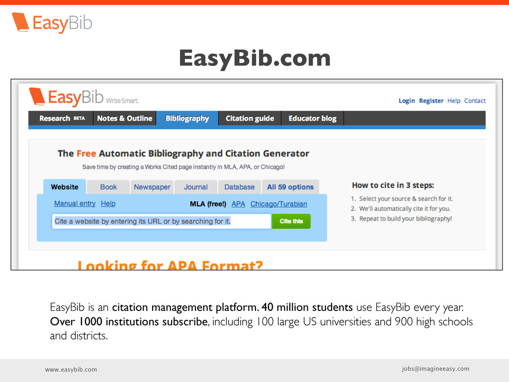 www.easybib.com jobs@imagineeasy.com EasyBib.co...
