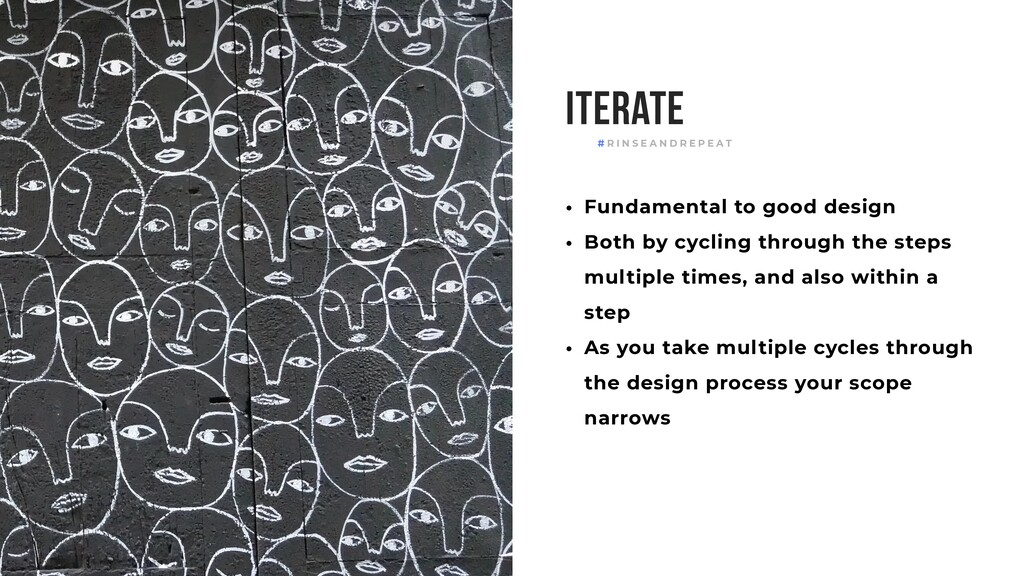 Iterate • Fundamental to good design • Both by ...