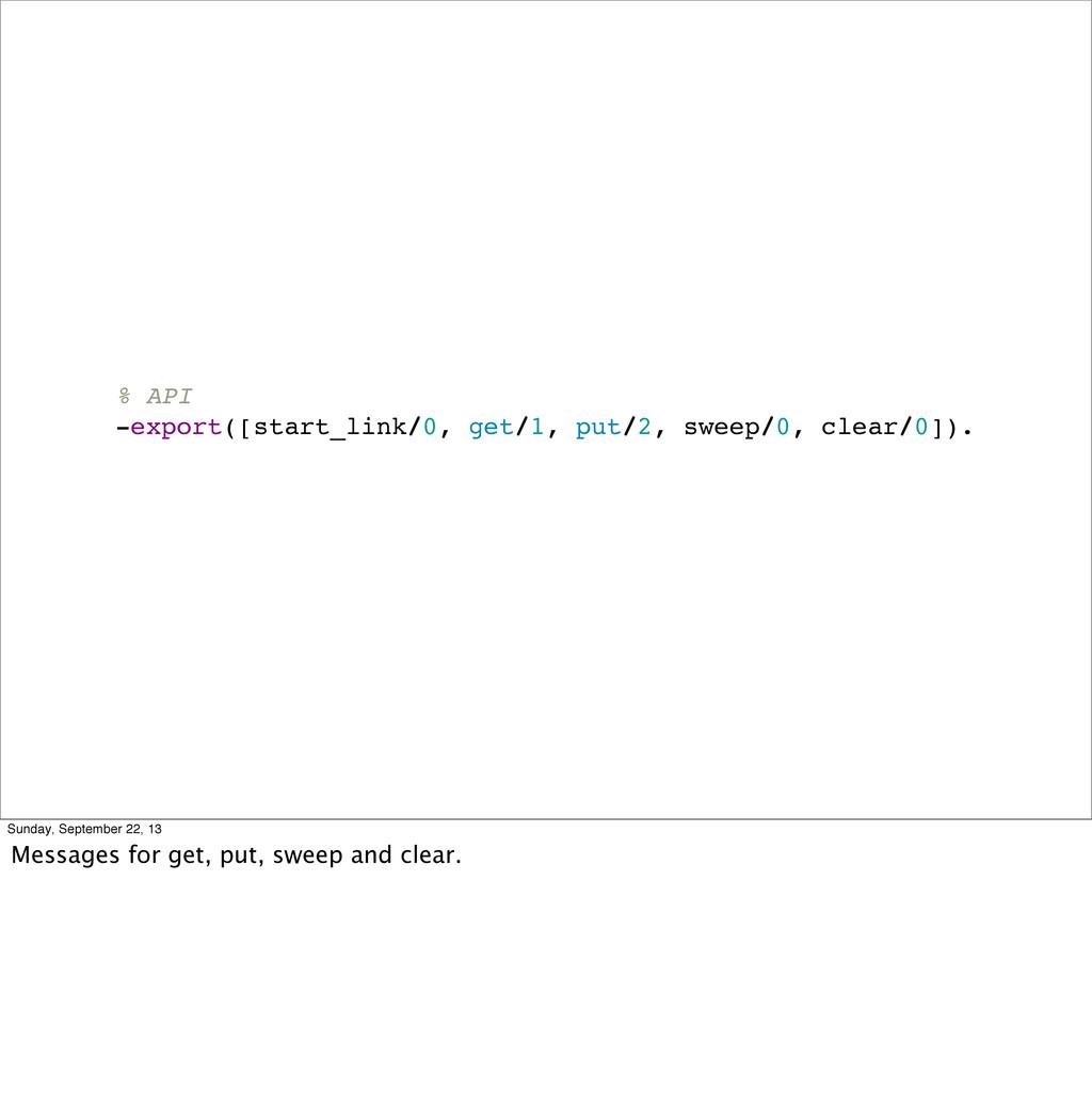 % API -export([start_link/0, get/1, put/2, swee...
