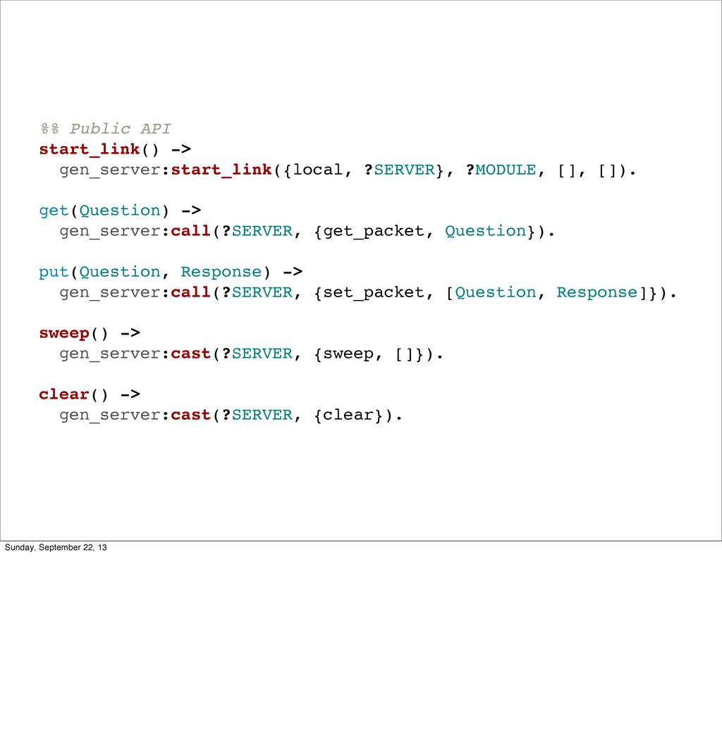 %% Public API start_link() -> gen_server:start_...