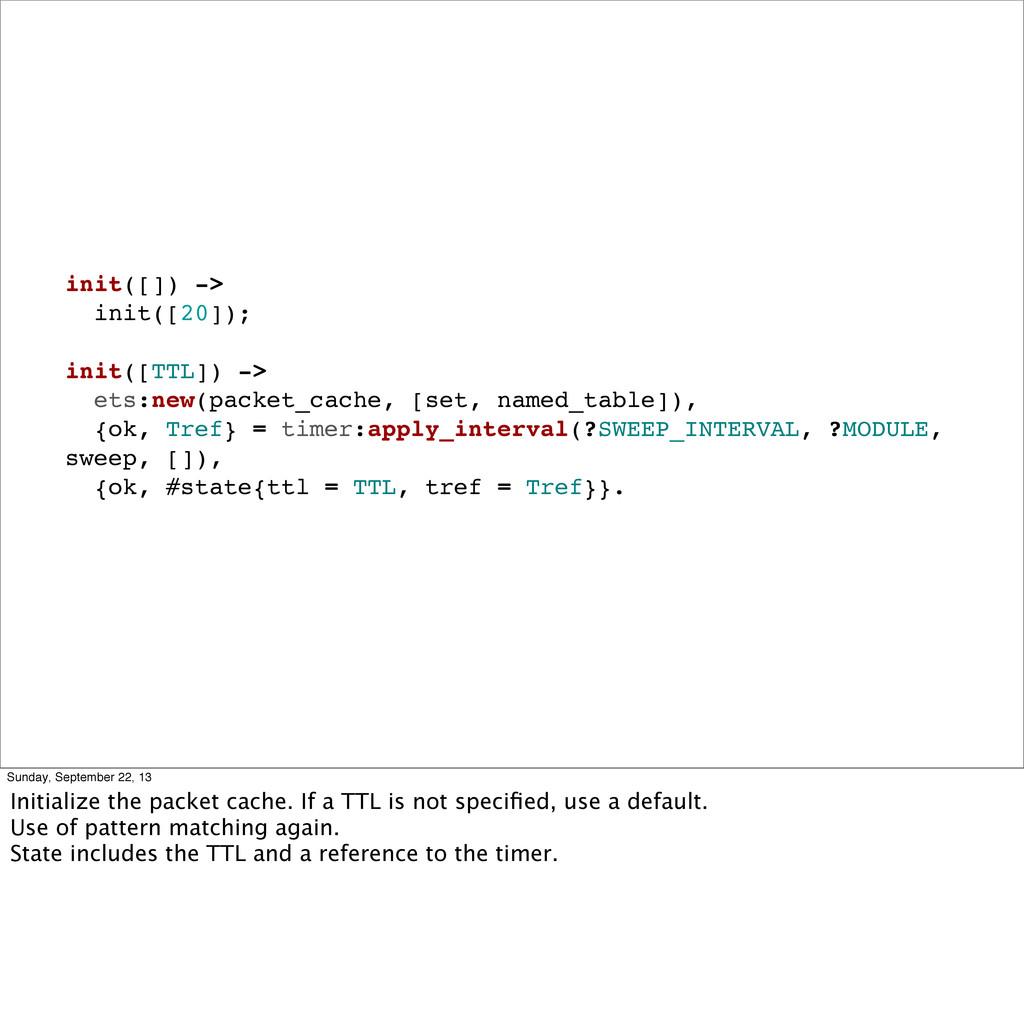 init([]) -> init([20]); init([TTL]) -> ets:new(...