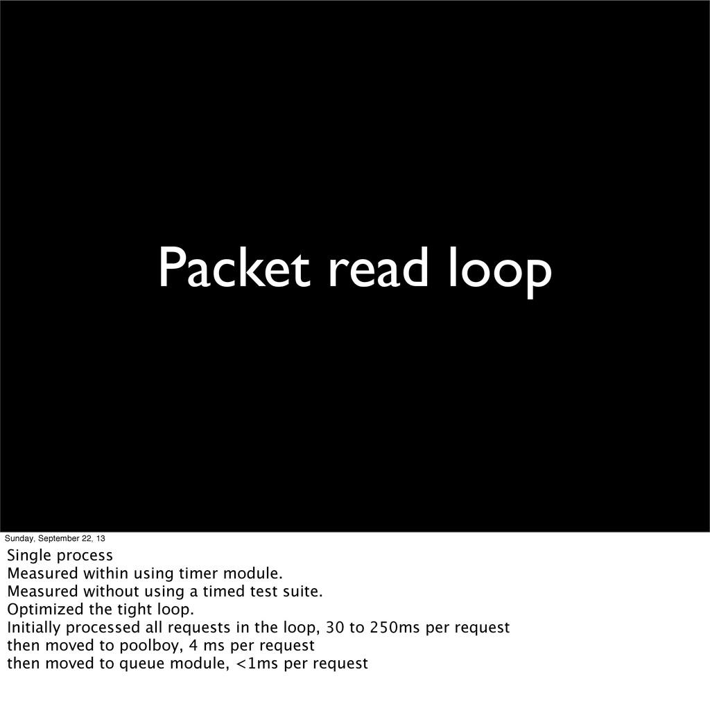 Packet read loop Sunday, September 22, 13 Singl...